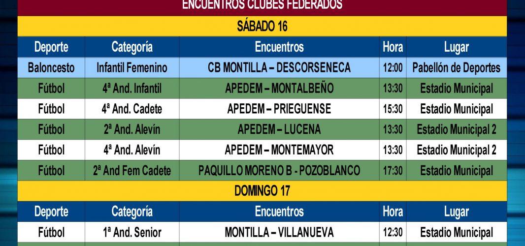 Agenda Deportiva Local desde el viernes 15 al jueves 21 de Febrero