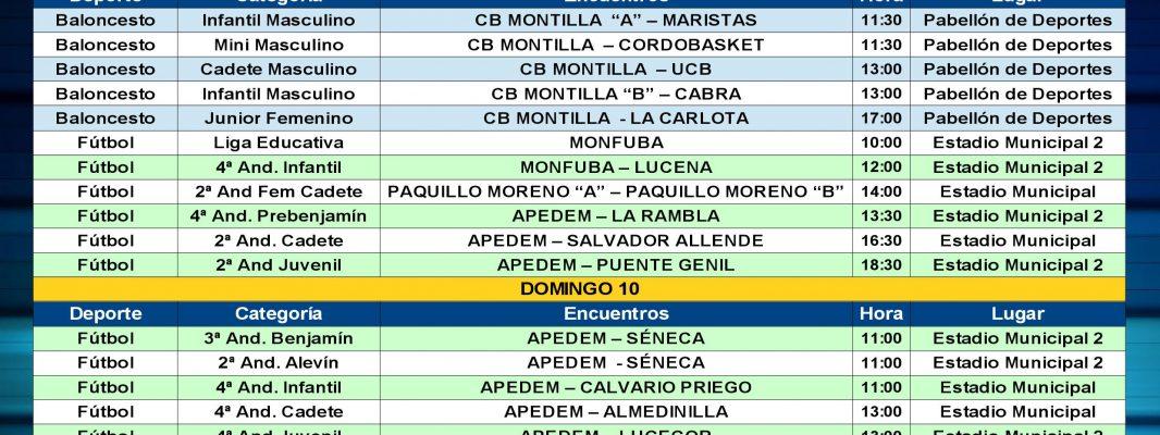 Agenda Deportiva Local, del viernes 8 al jueves 14 de Marzo.