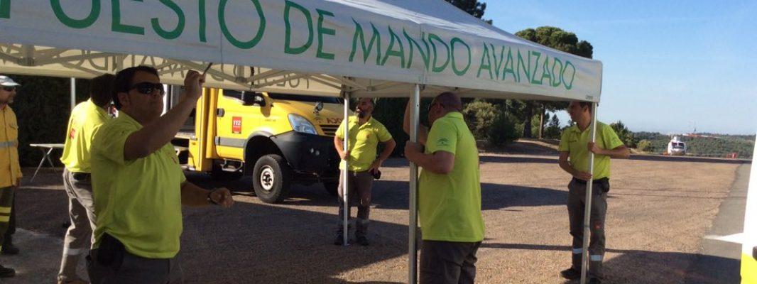 La Junta organiza un simulacro de incendio forestal en Los Villares para probar los protocolos de respuesta y coordinación