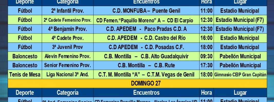 Agenda Deportiva Local del viernes 25 al jueves 31 de Octubre