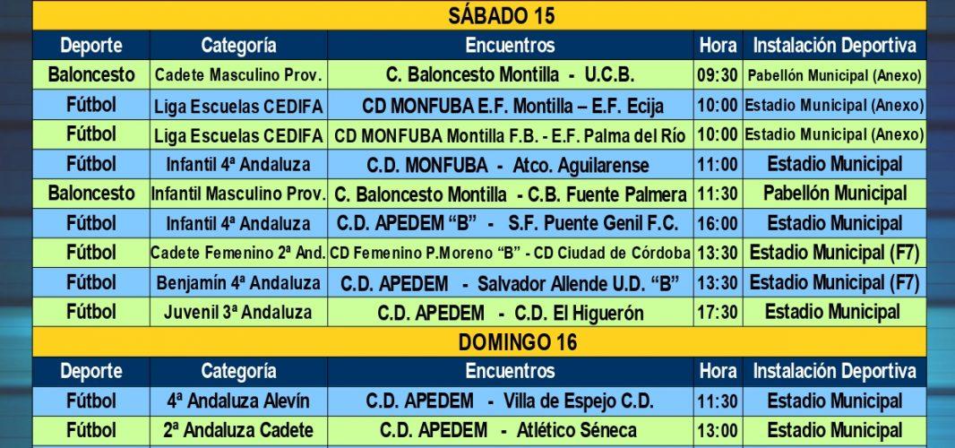 Agenda Deportiva Local del viernes 14 al jueves 20 de febrero